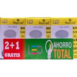 Lampara Ilumin Led Dicr Gu10 5w 500lm  3000k Royal Led 3 Pz
