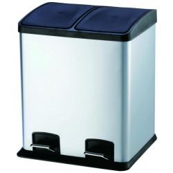Cubo Bas. Recicl. 24lt 40x39x47cm C/pedal 2comp. Inox Vivaho