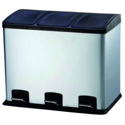 Cubo Bas. Recicl. 36lt 58x39x47cm C/pedal 3comp. Inox Vivaho