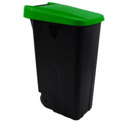 Contenedor Bas. 85lt C/rued Denox Pl Verde Eco Tapa