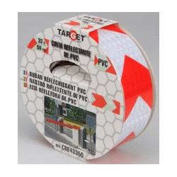 Cinta Adh 50mmx33mt Señalizacion Target Pvc Ro/bco Reflectan