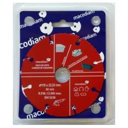Disco Corte Multimat Ø115x22,23mm Carburo Macodiam 1 Ud